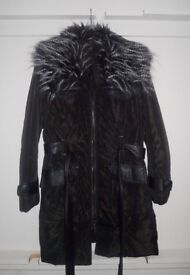 Ladies full length coat with faux leather trim and faux fur detachable collar size UK16