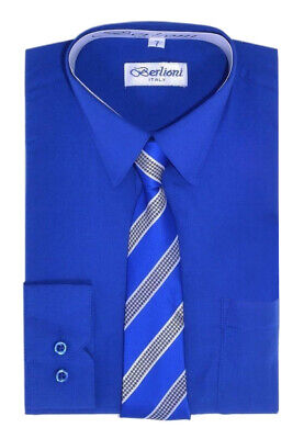 Berlioni Italy Kids Toddlers Boys Long Sleeve Dress Shirt Set With Tie - Size 6