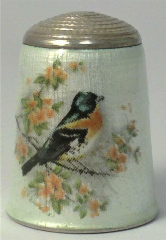 Vintage hallmarked Sterling Silver & Enamel Thimble with Hand Painted Bird– 1983