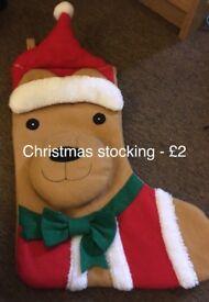 Christmas stocking and hair brush straighteners