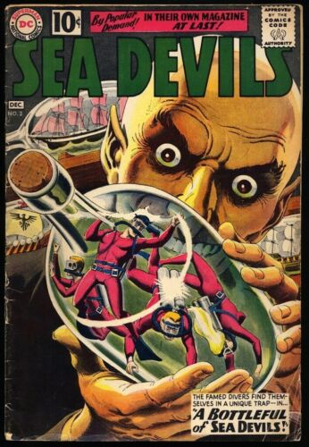 SEA DEVILS #2 1961 VG Russ Heath GREY-TONE Cover LAST 10¢ ISSUE