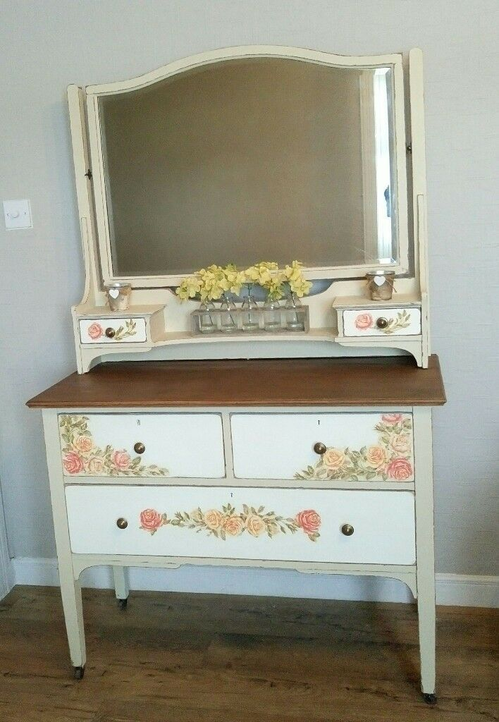 Dressing Table And Mirror Upcycled In Annie Sloan Paint With Natural Wood Top In Perth Perth And Kinross Gumtree