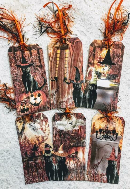 Set of 6 Hang Tags~Halloween Scary Black Cats~Gift Tags~Scrapbooks~Card