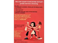 CLEANING HOUSES OR FLATS