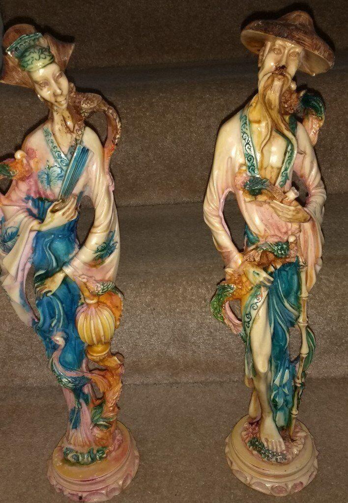 Vintage Hand Carved Painted Oriental Resin Figures