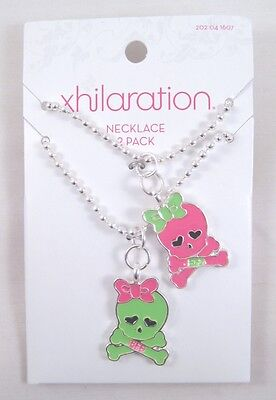New Set of Best Friend BFF Neon Pink & Green Skull Necklaces NWT #N2318 - Neon Pink Necklace