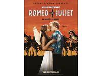 Secret Cinema Romeo and Juliet 2 x standard tickets Thursday 9th August
