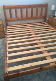 King size bed frame - pine