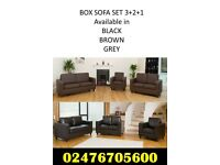 Brand New Box Sofas Faux Leather Cheap Black Brown Grey Free Delivery 3+2 £269 & 3+2+1 £369 Bargain