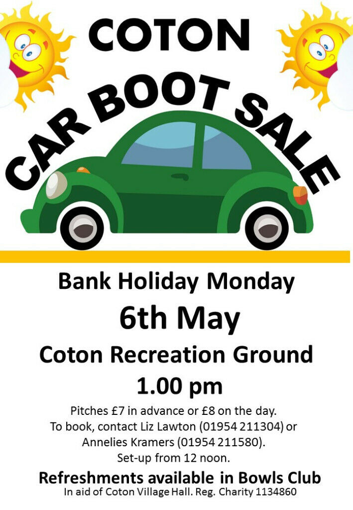 269d79fed39 COTON MAY DAY LAZY CAR BOOT SALE Monday 6th May 1pm   in Cambridge ...
