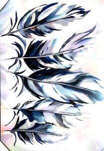 Blue Feathers Glass  Painting (PA26)