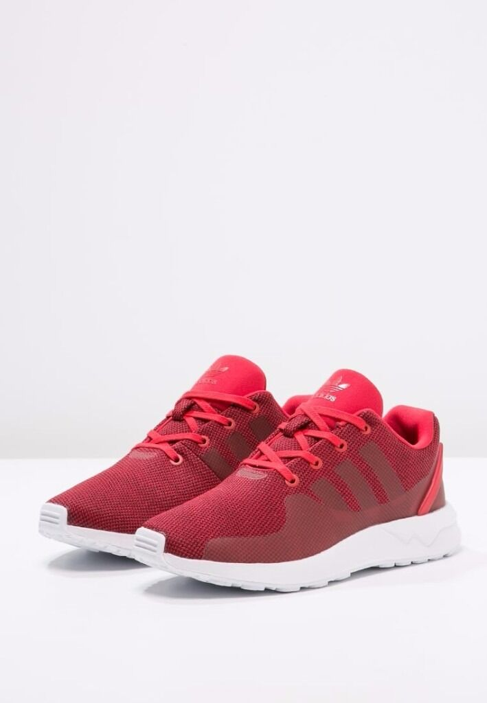NEW adidas Originals ZX FLUX Trainers red white size 5 UK or 5.5 UK