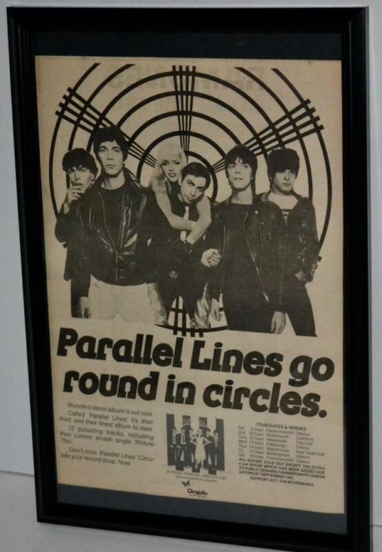 BLONDIE 1978 PARALLEL LINES CONCERT TOUR DATES FRAMED PROMOTIONAL POSTER / AD