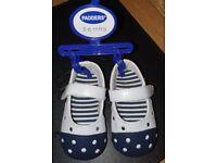 Brand new 3-6 months padders girls white pu bar shoe