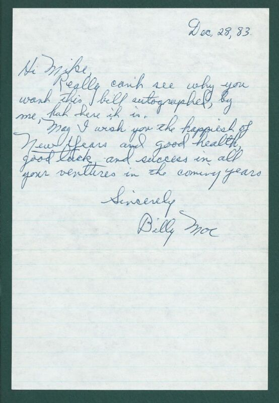 Bill Moe Signed note US Hockey Hall of Fame