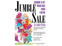 JUMBLE SALE and CAKE STALL - SAT 21ST OCT, 3.00PM, COTON VILLAGE HALL