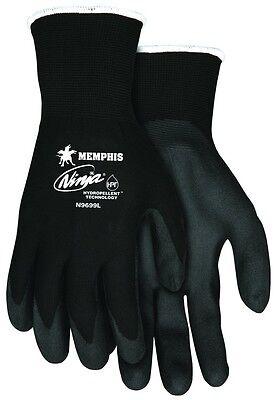 MCR Memphis N9699M Ninja Black Medium Hydropellent PVC Coated Nylon Gloves -