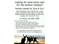 SPARE ROOM? HOST FAMILIES NEEDED FOR 3 WEEKS - END JUNE TO MID JULY