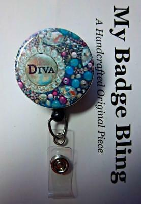 DIVA Pinks, Teals, Rhinestone ~ Artistic Impressions ~ Retractable Reel ID Badge