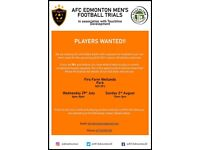 PLAYERS WANTED AFC EDMONTON FOOTBALL TRIALS