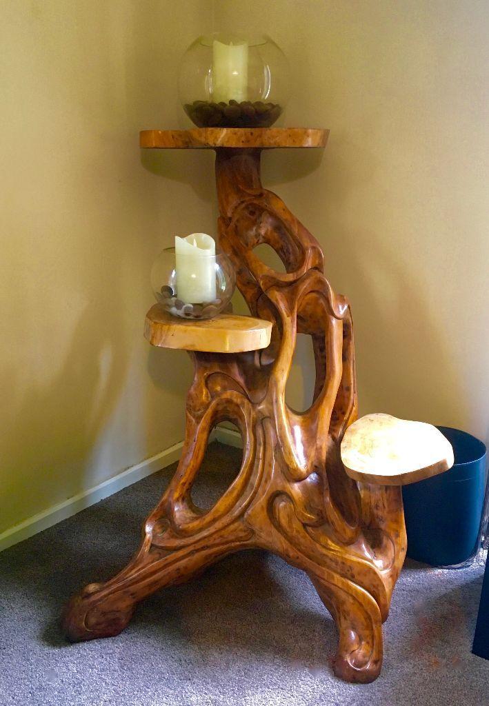 Beautiful Large Solid Wooden Teak Root Triple Display