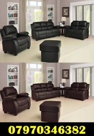 Brand New Valerie Leather sofa Cheap Black Brown Cream Free Delivery 3+2 £480 & 3+2+1 £680.00