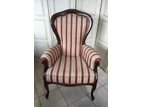 Queen Anne style high back upholstered chair