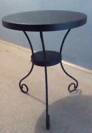 Pair of Ikea Noresund black metal side tables.