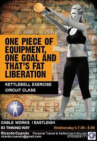 Kettlercise Circuit Class, Wednesdays from 7pm to 8pm at Cable Works, Eastleigh, Hampshire