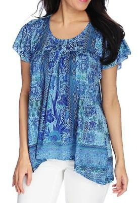 NEW - One World Printed Knit Short Sleeve Crocheted Trim Peasant Top