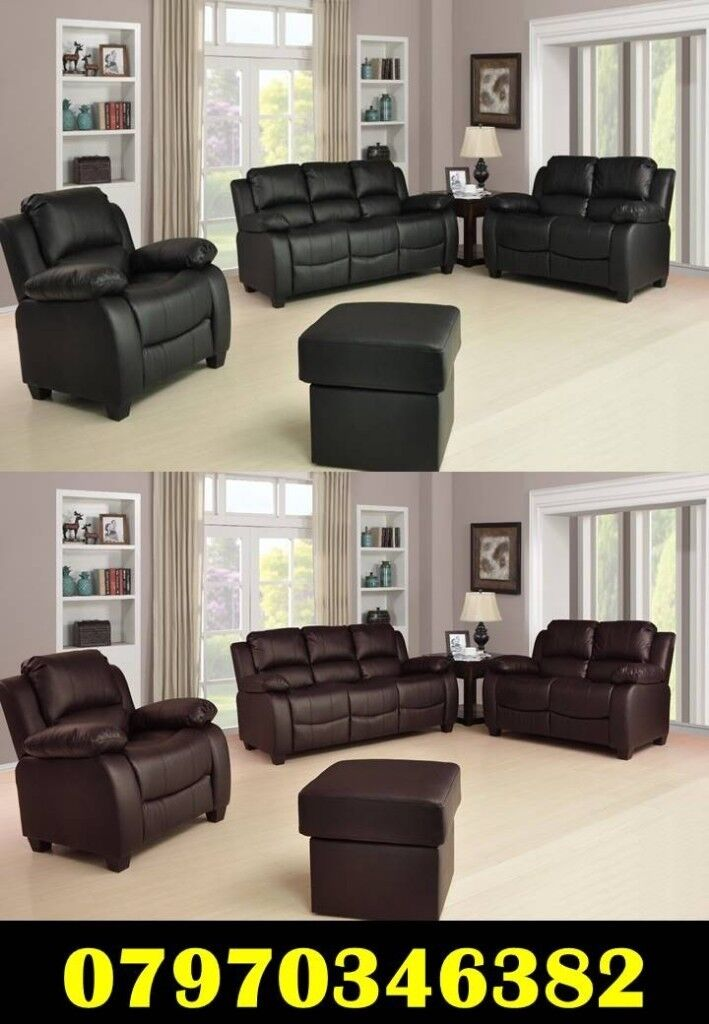 Brand New Valerie Leather Sofa Cheap Black Brown Cream Free Delivery 3+2  £480 U0026 3+2+1 £680.00