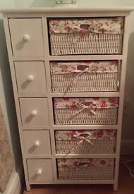 For sale 5 drawer chest with side compartments - white