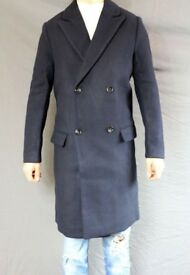 Mens H&M Wool Mix Coat 36R SMALL Navy Blue double breasted long lapel S M 36 38 burberry long