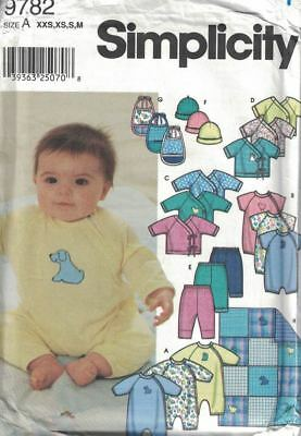 (Simplicity Baby Infant Layette PJs Tops Pants Bibs Hat #9782 Sizes XXS - M Uncut)