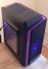 Purple LED Micro ATX Gaming Tower ONLY Windows 10 Home Edition
