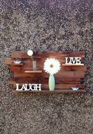 Hand Crafted Pallet Wall Art 4 Floating Shelves Design.All Fittings Included.