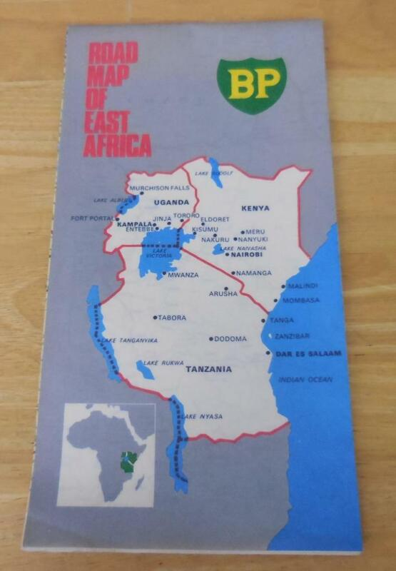 BP Oil Co. Road Map of East Africa (1971) Thick Laminated EXC 1:2,000,000