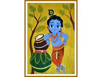 Baby Krishna - Indian mural painting - Acrylic on canvas - Wall decor