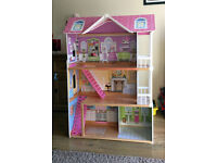 LARGE WOODEN DOLLS HOUSE ELC + ACCESSORIES