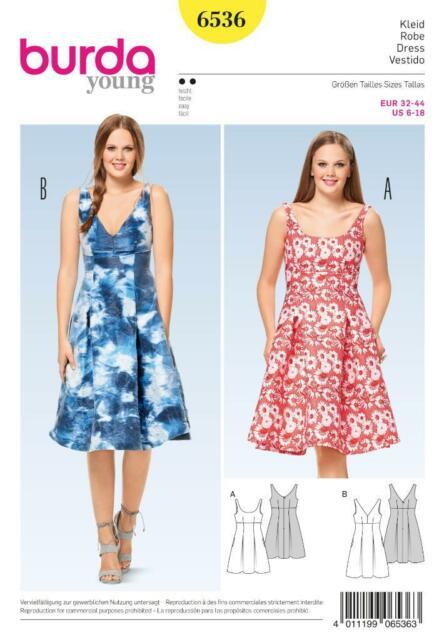 Burda Sewing Pattern Misses\' Chic Summer Dress High Waist Flared ...