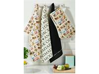 Farm yard oven glove & tea towel set
