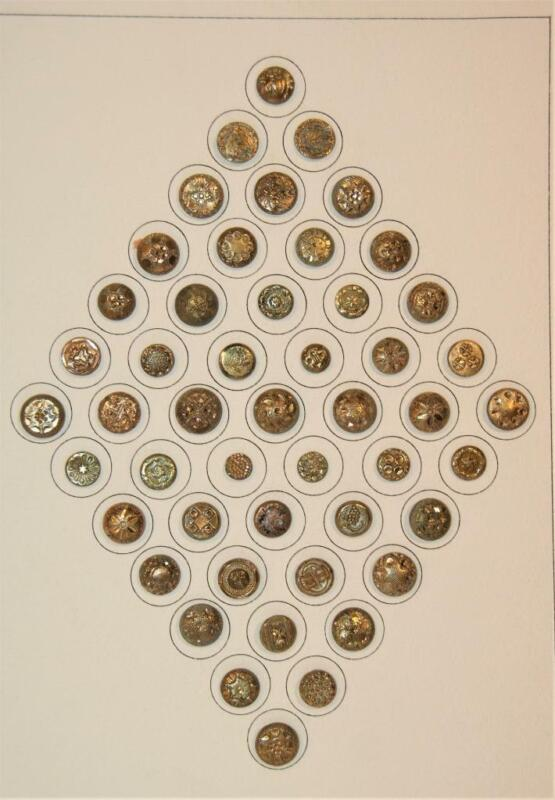 49 Stunning Antique Victorian Brass Waistcoat Sewing Buttons Variety Dome Enamel