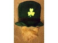 Irish / Ireland Hat and beard fancy dress costume