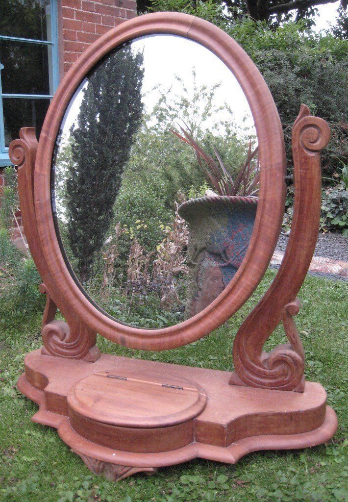 Antique c1870 Victorian Mahogany Serpentine Swing Dressing Table~Chest~Toilette~Bedroom Oval Mirror