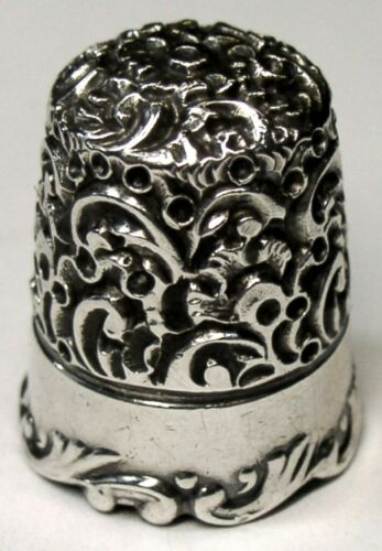 "Antique Ketcham & McDougall Sterling Silver Thimble  ""Embroidery Scroll""  C1890s"