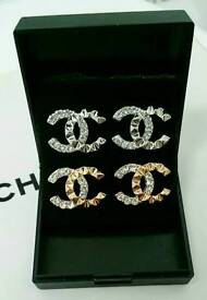 2 x Pairs of Gold & Silver diamante Chanel Stud earrings Brand New and boxed