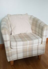 Neutral tartan tub chair