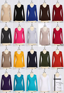 BASIC-Solid-Plain-Cotton-V-NECK-LONG-SLEEVE-TOP-T-Shirt-S-M-L-Casual-Tee