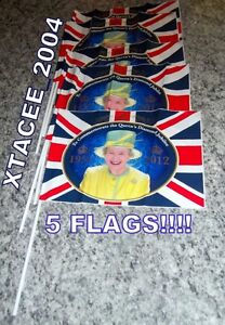 Queens DIAMOND JUBILEE Hand Held 5pc SET wave flags celebrate Party 12x8