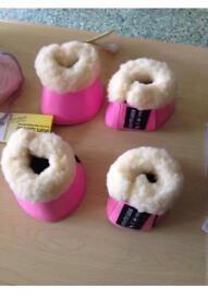 HKM pink cob brushing boots